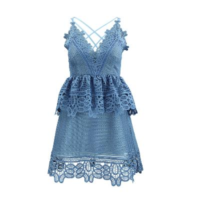 Lace Trimmed Mini Dress with Strap Back blue